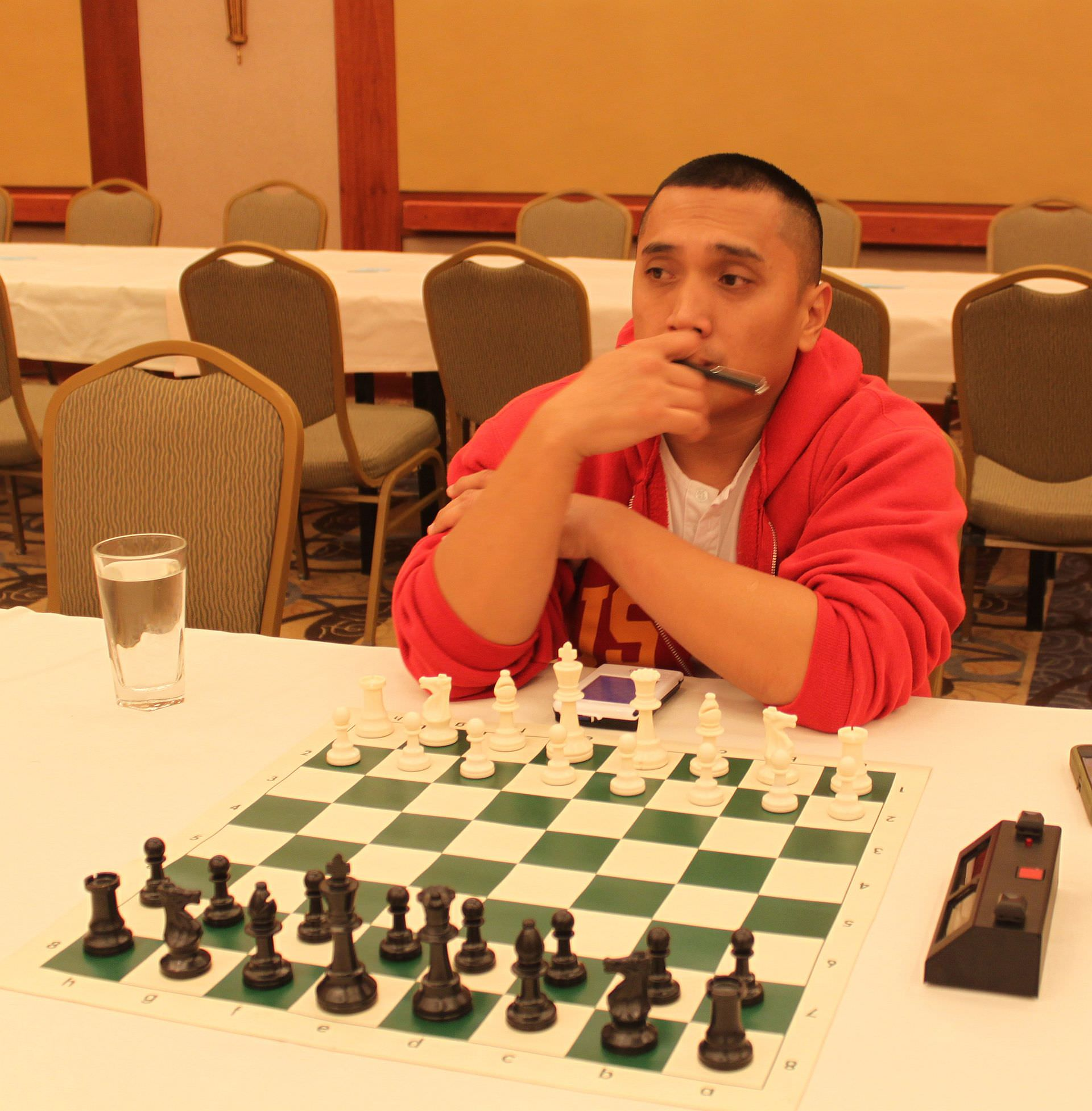 CCLA member Errol Acosta photographed at the chess board