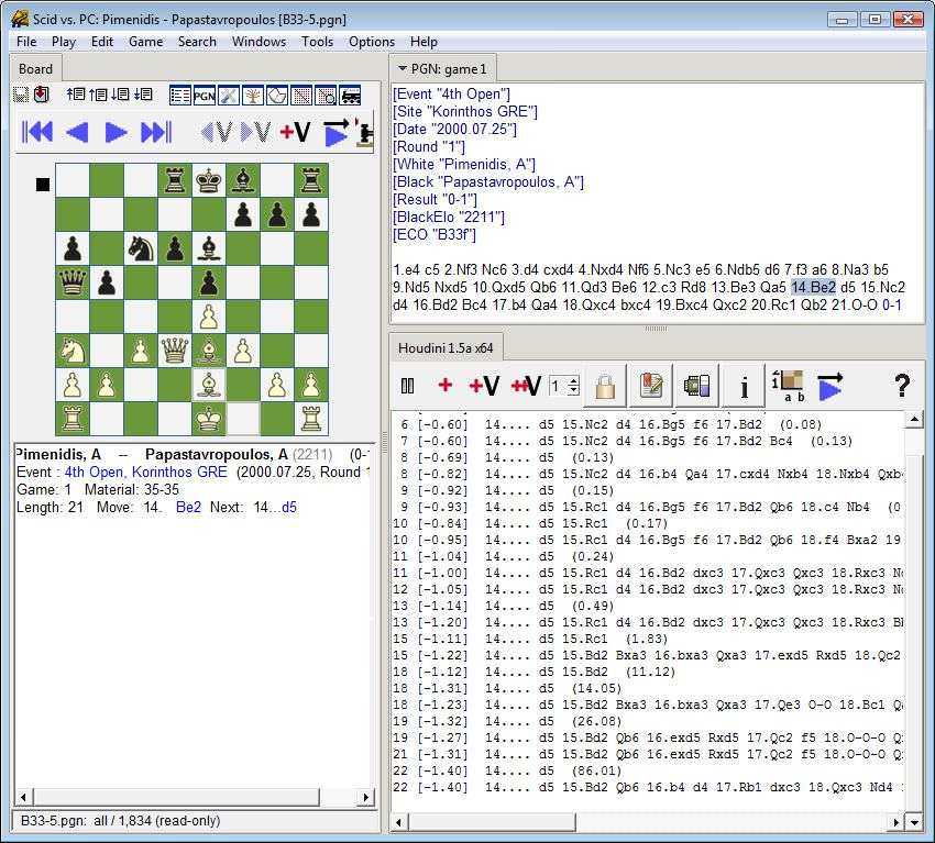 Color photograph of SCID gui analyzing a chess position