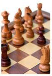 graphic of the six types of chess pieces in a group, on CCLA's web page How to Play Chess