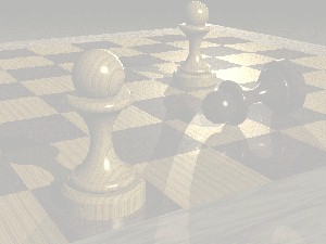 Color photograph of pawns on a chess board