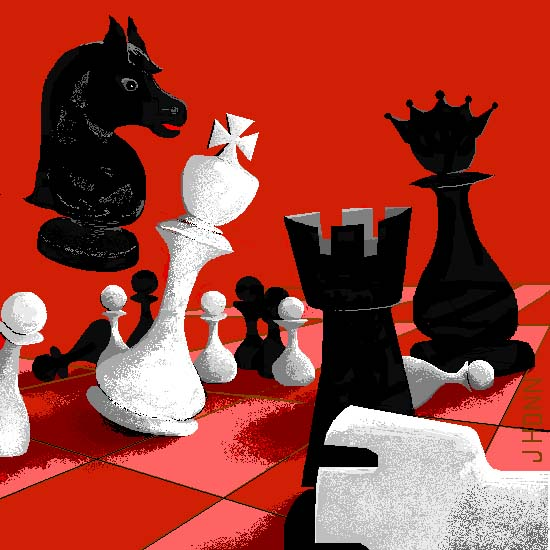 Graphic of chess pieces in chaos, © 2003 by Jerry Honn